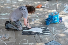 Gordon Ashworth making chalk artworks
